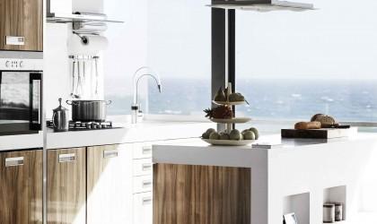 Zdjęcie wnętrza kuchni z wykorzystaniem kranu  kuchennego KLUDI E-GO